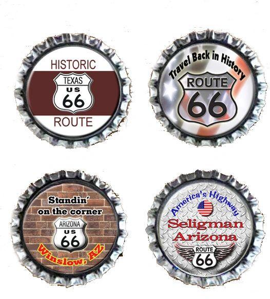 Four Route 66 Themed Bottlecap Fridge Magnets