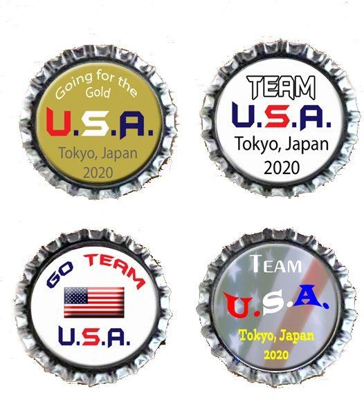 Four USA Olympics Bottlecap Magnets