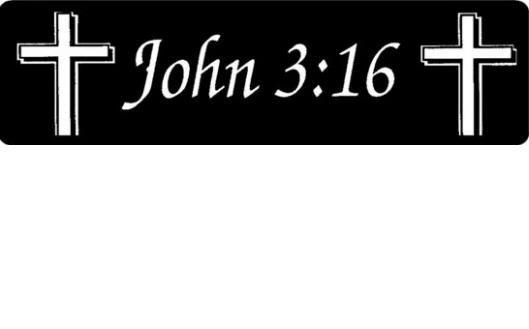 Helmet sticker - John 3:16 - with cross