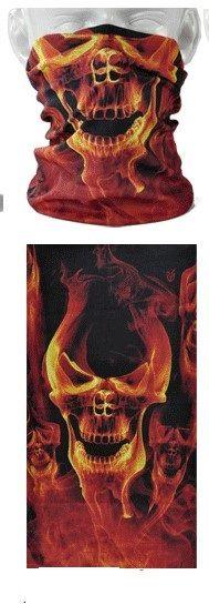 Tube mask - flaming skulls