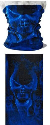 Tube mask - blue flaming skulls