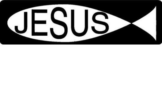Helmet sticker - JESUS written in a fish outline