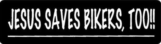 Helmet sticker - Jesus saves bikers too