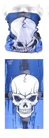 Tube mask - large skull bright blue