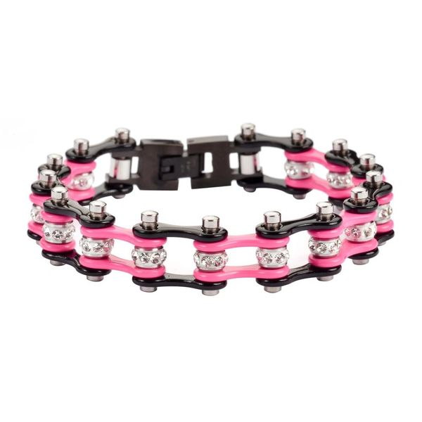 Bracelet - two tone black and pink with white Crystal Centers