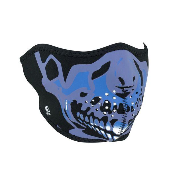 Neoprene half face mask- Blue Chrome Skull