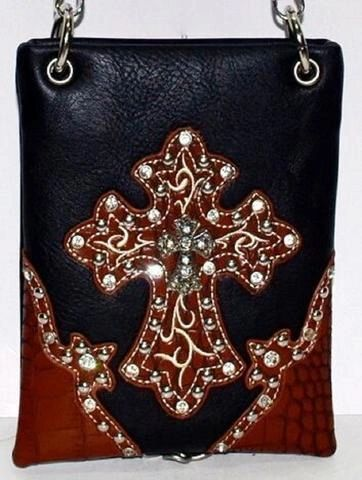 Cross body purse - Black with brown trim and cross