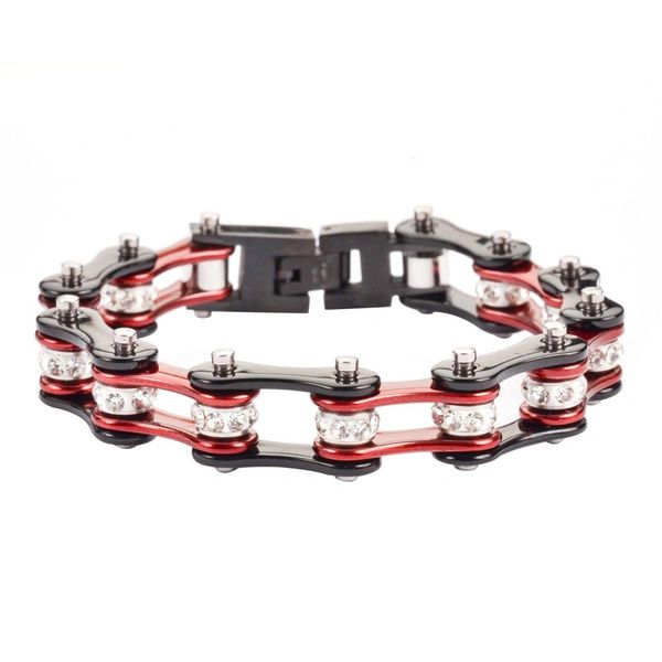 Bracelet - two tone black and candy red with white crystal centers