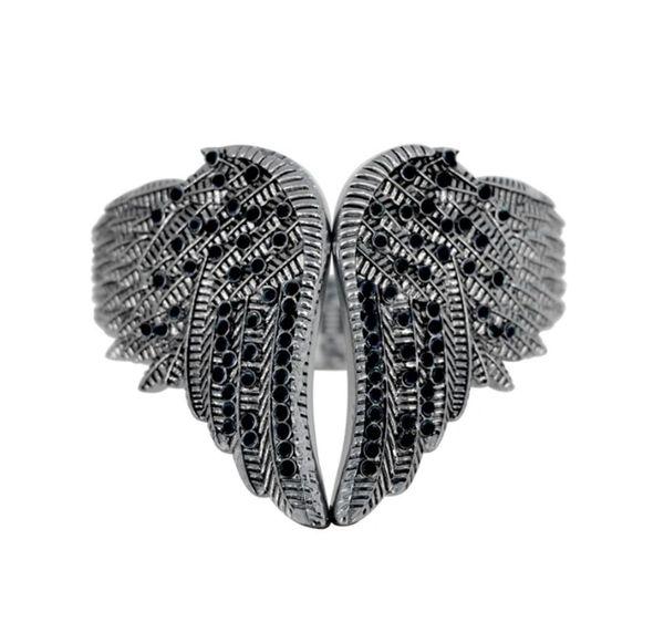 Bracelet - Wings heart with imitation black diamonds