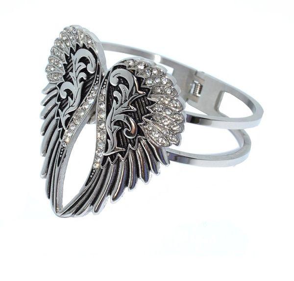 Bracelet - Wings heart with imitation diamonds