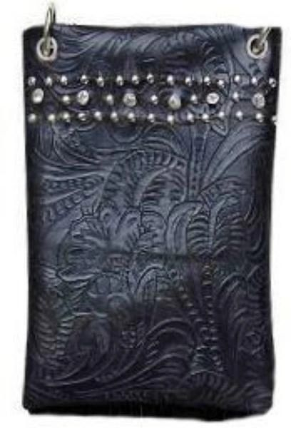Cross body purse - Black with crystals on top