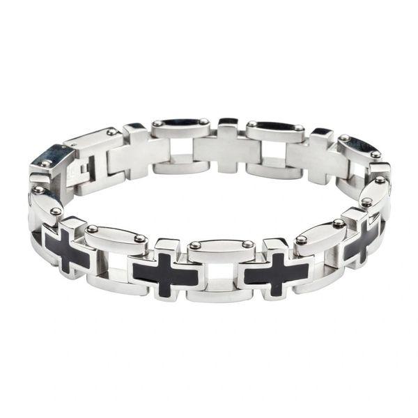 Mens bracelet - Stainless Steel Christian Cross