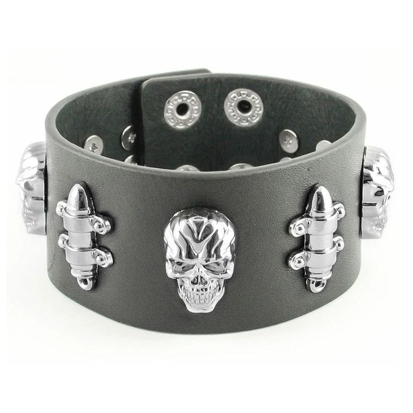 Mens bracelet - Skull and bullet leather band