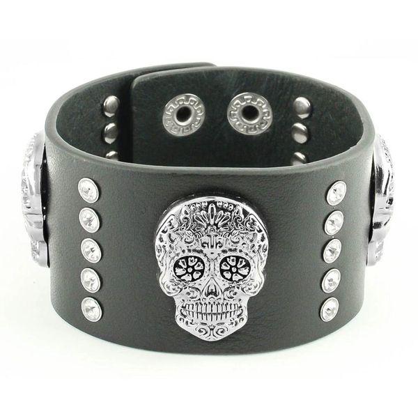 Womens bracelet - Sugar skull leather band