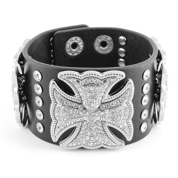 Womens bracelet - cross on leather band