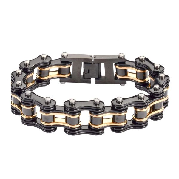 Mens bracelet - Stainless steel two tone black and gold