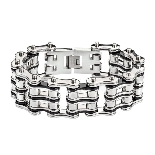Mens bracelet - Stainless steel two tone silver and black