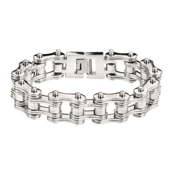 Mens bracelet - Stainless steel all silver double link