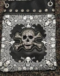 Cross body purse - Black with bling out skull and crossvbones