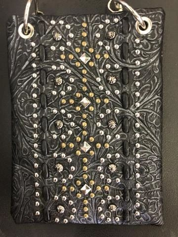 Cross body purse - black with studs and embossed design