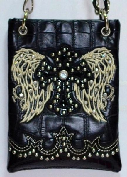 Cross body purse - black with wings and cross