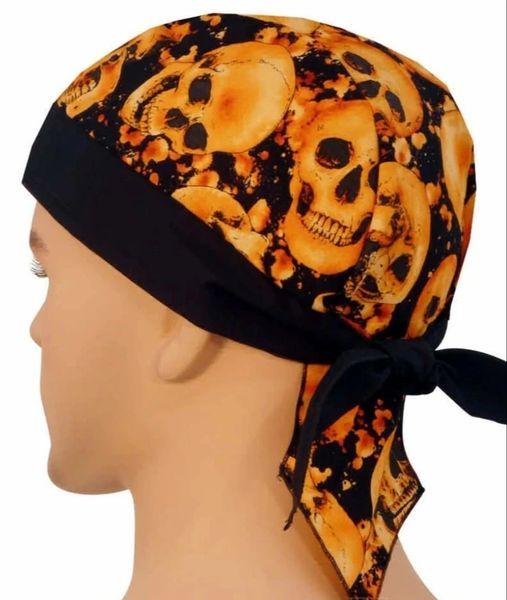 Headwrap - Orange Classic Skulls with Black Band