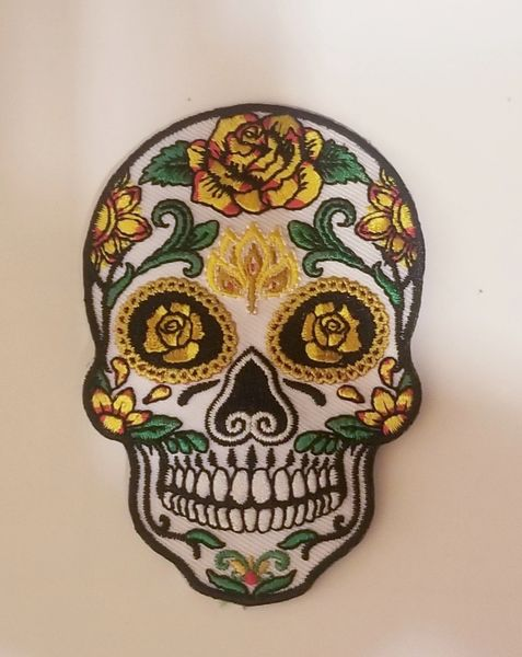 Patch - Sugar Skull with Yellow Roses
