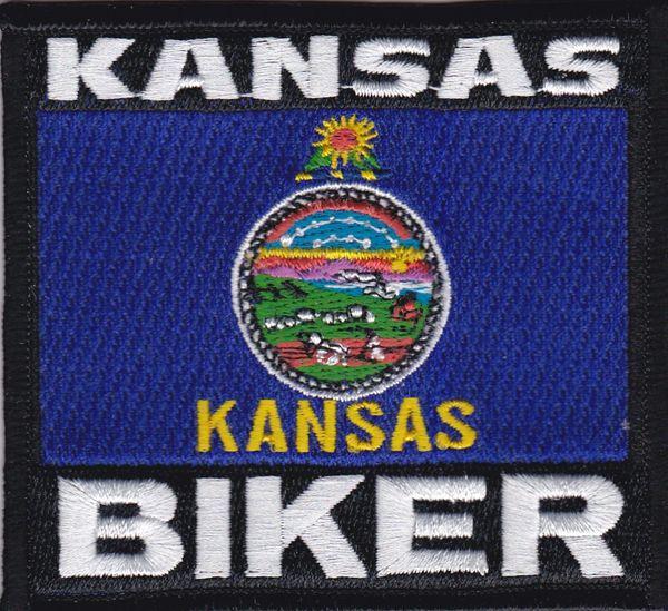 Patch - Kansas biker flag