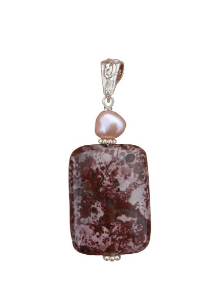 Ocean Jasper, Fresh Water Pearl & Sterling Silver Pendant