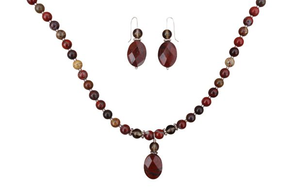 Apple Jasper & Smoky Quartz Necklace & Earrings Set