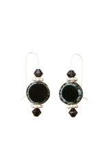 Fire Polished Black Czech Glass & Swarovski Crystal Earrings