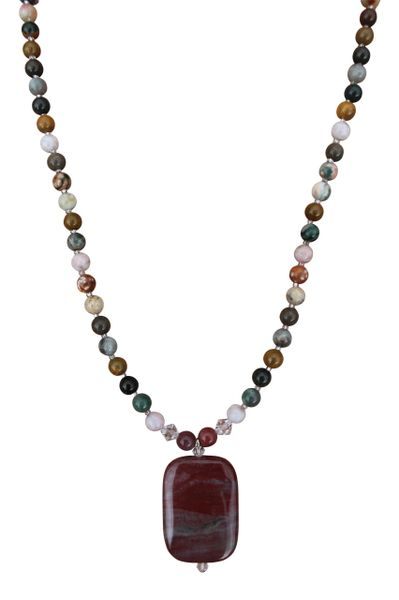 Ocean Jasper & Swarovski Crystal Necklace