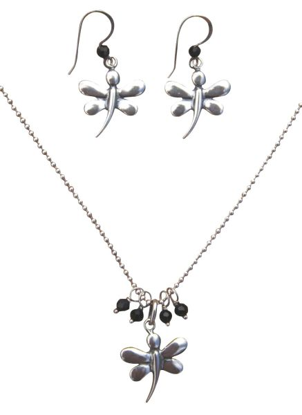 Sterling Silver & Crystal Dragon Fly Jewelry Set