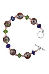 Lampworked Foil Glass & Swarovski Crystal Beaded Bracelet