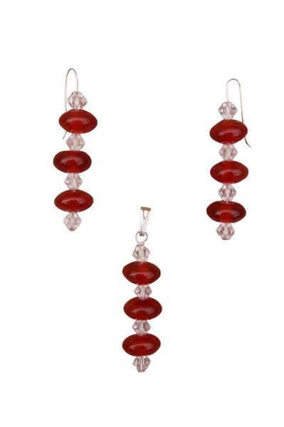 Carnelian & Swarovski Crystal Earrings & Pendant Set