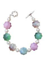 Glass Flower, Pearl, & Sterling Silver Beaded Bracelet