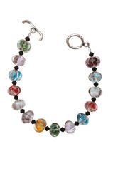 Colorful Art Glass & Black Swarovski Crystal Bracelet