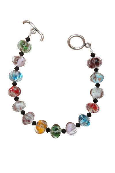 Colorful Art Glass & Black Swarovski Crystal Bracelet