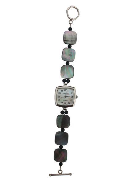 Black Shell & Crystal Watch