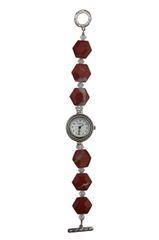 Hexagonal Red Jasper & Swarovski Crystal Watch