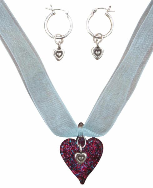 Hill Tribe Sterling Silver & Glass Heart Ribbon Necklace and Earrings Set