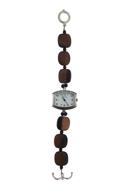 Tiger Ebony Wood & Crystal Watch