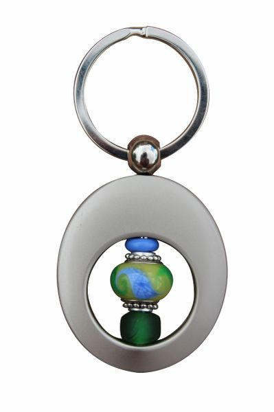 Beaded Blue & Green Lampworked Glass Key Ring