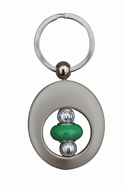 Beaded Seafoam Green Lampworked Glass Key Ring