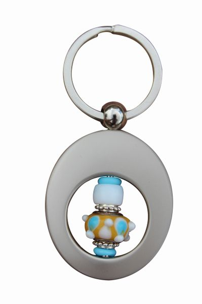 Beaded Yellow and Aqua Lampworked Glass Key Ring