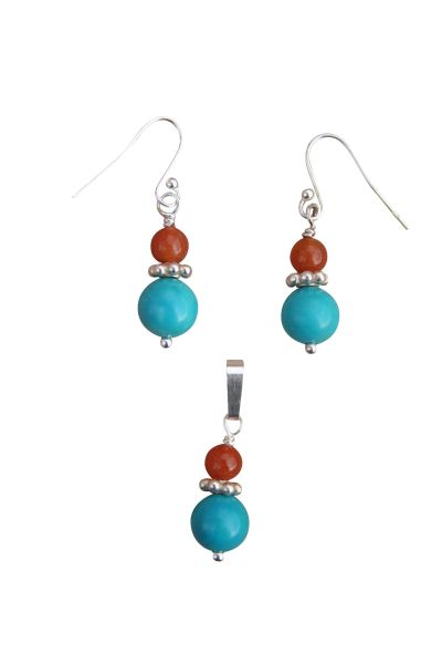 Nevada Turquoise & Red Aventurine Earrings and Pendant Set