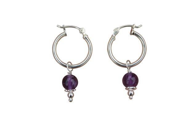 Amethyst and Sterling Silver Hoop Earrings