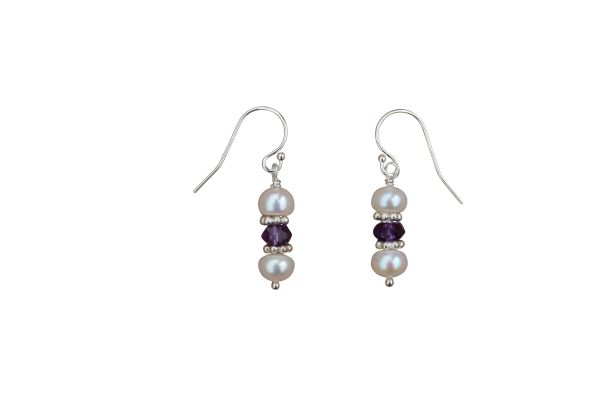 Pearl, Amethyst and Sterling Silver Earrings