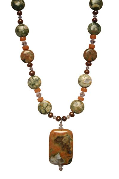 Rainforest Jasper & Freshwater Pearl Necklace