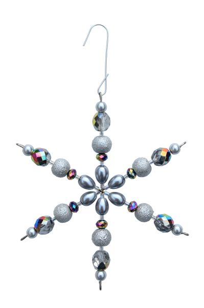Beaded Silver Pearl Glass Snowflake Ornament